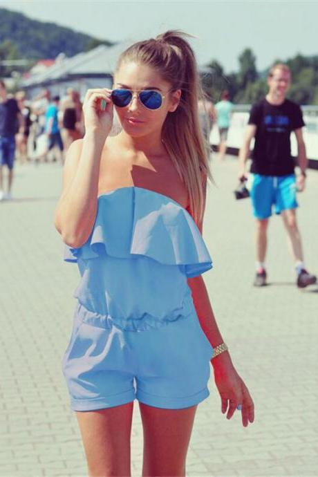 *Free Shipping* Mhysa Dresses Womens Beach 2018 Summer Women Fashion Casual Ruffles Strapless Waist Tightening Candy Color Womens Dress 060 32801311998
