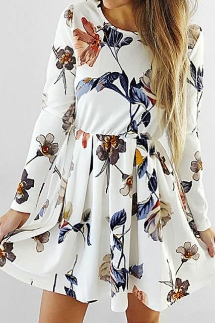 Vintage Round Neck Floral Print Skater A-line Mini Dress with Long Sleeves