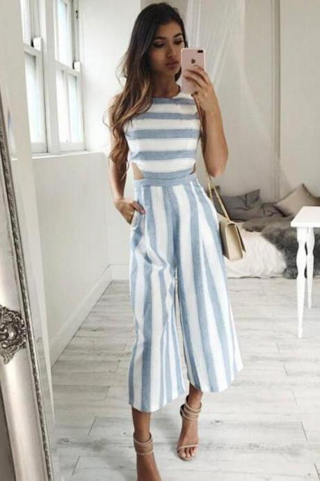 *Free Shipping* Striped jumpsuit Rompers 2017 Women Linen cotton overalls Ladies casual loose calf length wide leg pants Jumpsuits cut-out waist 32813690281