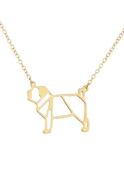 *Free Shipping* origami pug Necklace Geometric jewelry drop ship cute dog pendant necklace Animal lover gift for ladies 32795524660