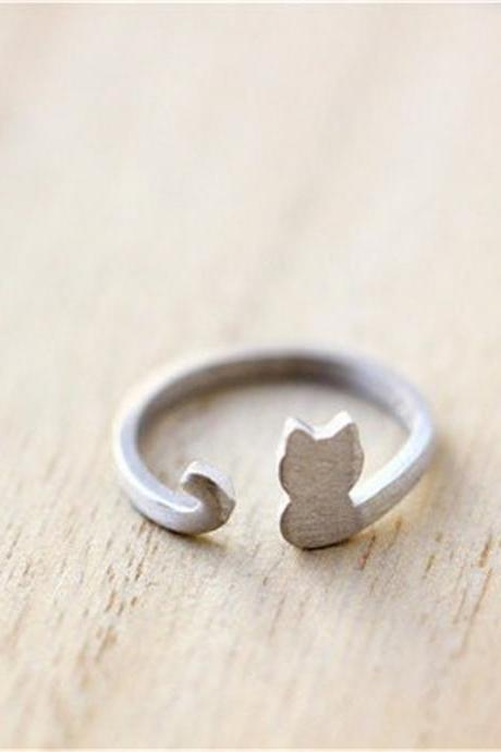 *Free Shipping* Simple Design Cat Animal Ring Jewelry.Cute Tiny Kitty Ring.Gold/Silver Plated Female Ring 32800911635