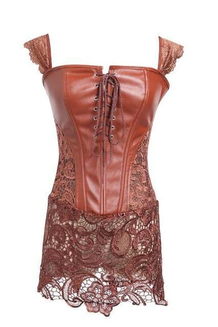 *Free Shipping* S-6XL Plus Size Corset Women Black Faux Leather&Lace Steampunk Corset Dress Gothic Bustier Corset 2018 Sexy Corsets and Bustiers 32435984785