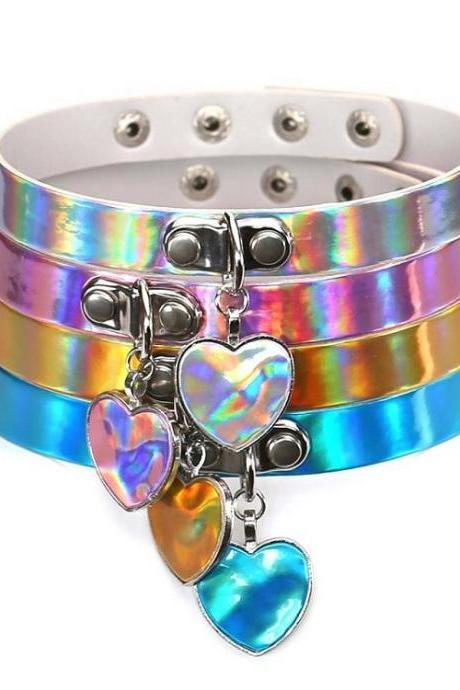 Hologram Finish Choker Statement Necklace with Heart Shape Charm