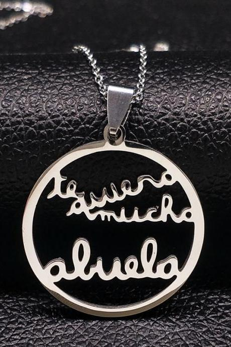 *Free Shipping* Grandmother Stainless Steel Statement Necklace Women jewlery Silver Color Necklaces & Pendants Jewelry navidad N18021 te quiero mucho abuela 32834596579