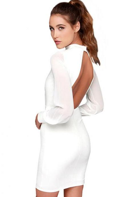 spring long Chiffon sleeve backless black white bandage dress elegant sexy club nightclub open back short party mini dress