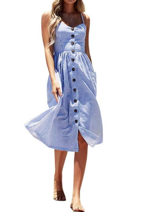Women's Sexy Summer Backless Button Down Striped/Solid Print Swing Midi Dress With Pockets 32859090939