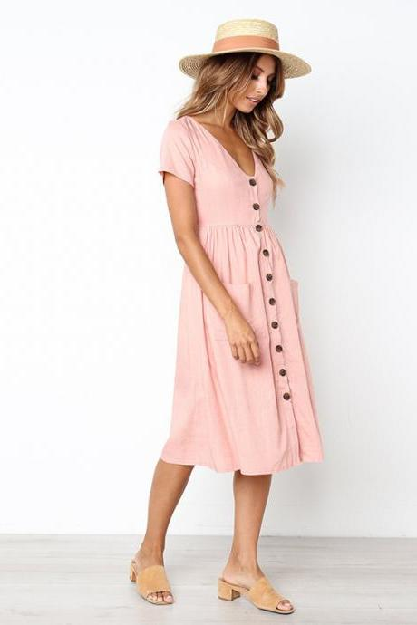 *Free Shipping* Women's Fashion Summer Short Sleeve V Neck Button Down Swing Midi Dress with Pockets 32869631292