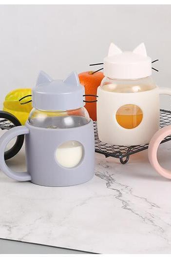 Creative Cartoon Cat Water Bottle Glass Silicone Bottle with Handle Coffee Mug Outdoor Portable Travel Bottle Gift for Kid 32998760548