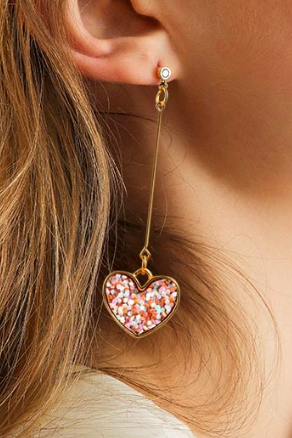 Fashion Jewelry Vintage Geometric Round Sequin Hanging Gold Heart Pink Earring 33053615644