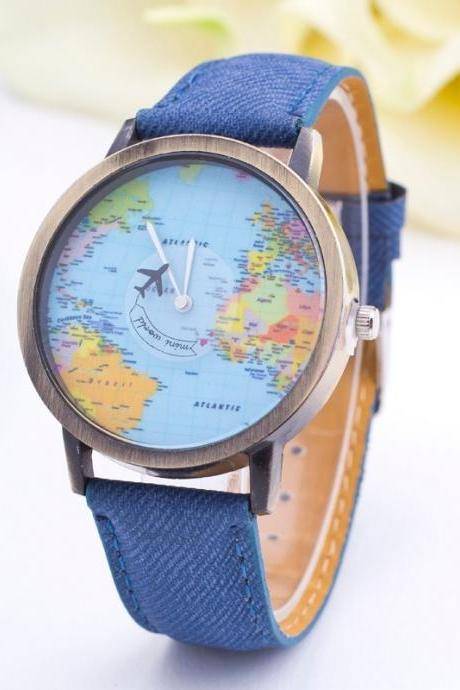 *Free Shipping* New High-end Personality Women Watch Popular Map Airplane Hand Dress Wristwatch Elegant Fashion Casual Watch Relogio Clock 32458567064