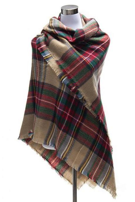 *Free Shipping* 140X140cm Brand Winter Scarfs Tartan Plaid Scarf Women Ladies Bandana Designer Blanket Scarves Shawl Cape 32497344396