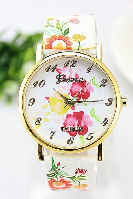 *Free Shipping* New Fashion Trendy Colorful Flower Quartz Watch Ladies Geneva Watch Popular Cartoon Watch Hot Wristwatch 32219861738