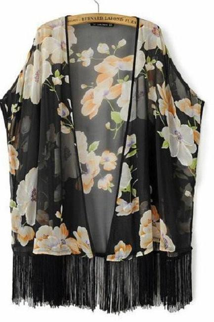 Fashion Long Chiffon blouse open black kimono cardigans for Women Flower Prints Shirts Loose fringe blouse bz655514 1977179686