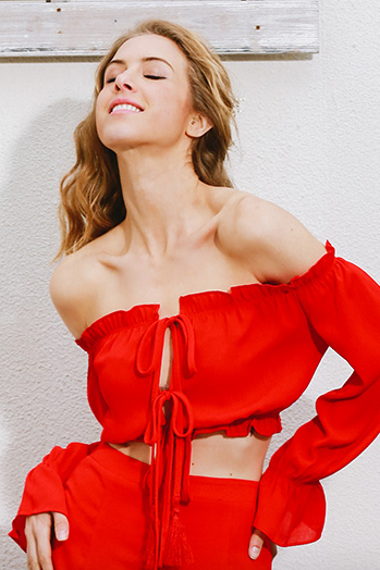Ruffled Off-The-Shoulder Long Sleeved Cropped Top Featuring Ribbon Accent