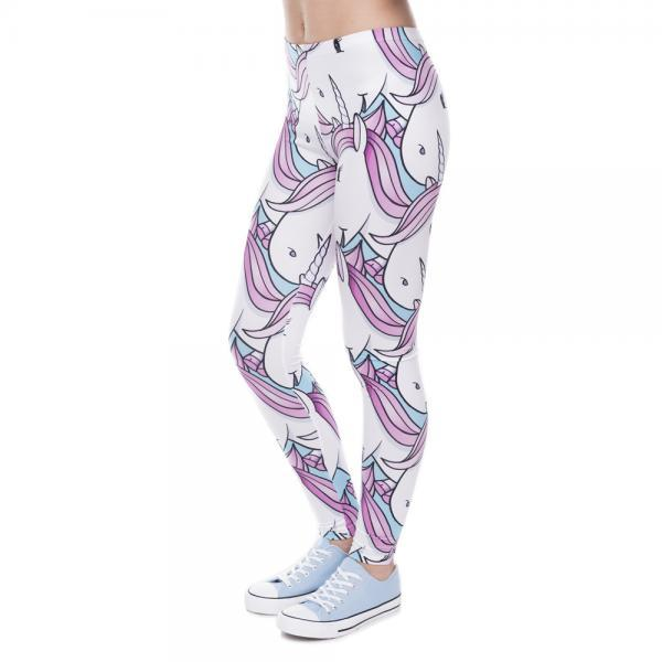 Fashion Women Leggings Digital Printed Trousers Pink White Unicorn Legging Slim High Waist Legins Women Pants 32735642646