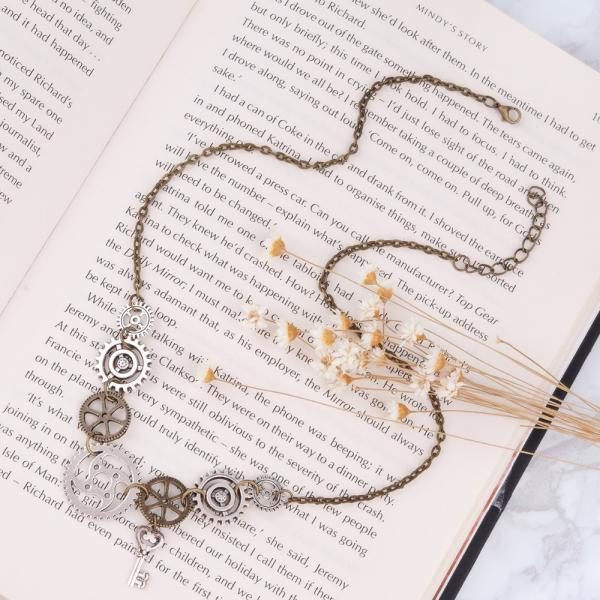 *Free Shipping* Steampunk Statement Necklace Link Cable Chain Antique Bronze Gear Key Pendants 45.5cm long, 1 Piece 32666949226
