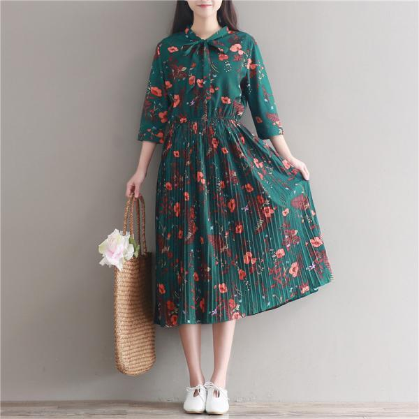 *Free Shipping* Chiffon Dress Women Casual Vintage Green Flower Print Three Quarter Sleeve Retro Spring Summer High Waist Dresses 32814658447