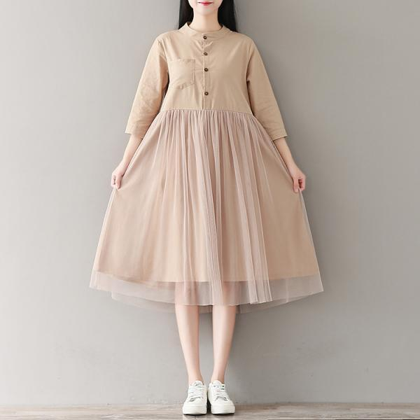 *Free Shipping* Summer Spring Dress A Line Cotton and Linen O Neck High Waist Mesh Patchwork Lolita Dress Clothes for Women 32824775428