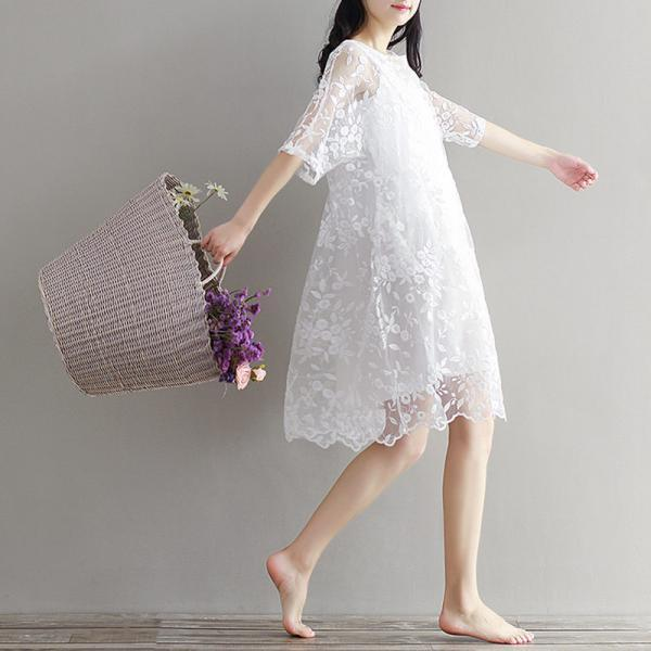 *Free Shipping* White Mesh Dress Embroidery Summer High Waist Lace Dress for Women O Neck Two Pieces Dresses 32687236537