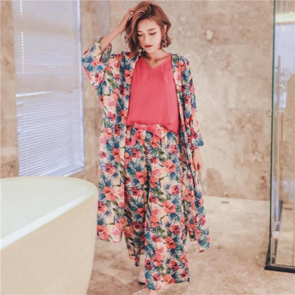 *Free Shipping* Spring And Autumn New Korean Long Sleeved Cotton Ladies Casual Sweet Sexy Suspenders Wide Leg Pants Gown Three Piece Suit 32822873399