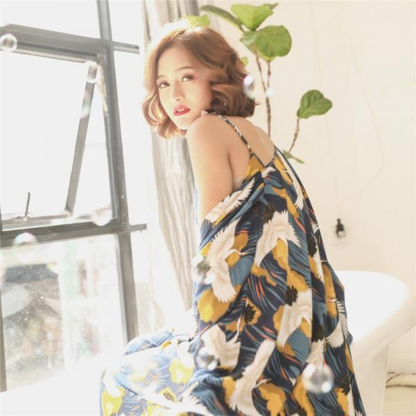 *Free Shipping* Spring and Autumn New Lady Bird pattern cotton silk three-piece pajamas Korean pyjamas loose home clothing sleepwear 32853600954