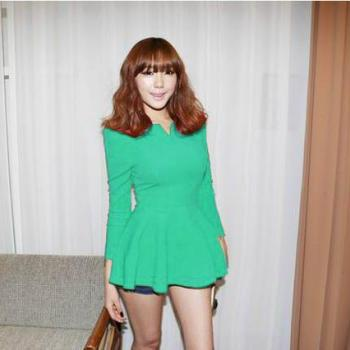Green Fashion korea Puff Long sleeves Fitted Peplum Blouse Woman T-shirt Cotton Blends Tops Casual shirts