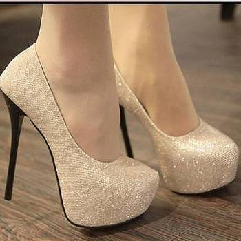 Evening Party Glittering High Platfrom Stiletto Heels 2 colors Women Fahsion Sexy Pumps