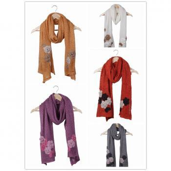 inter Women Mohair Long Scarf Warm Knit Neck Scarves Soft Crochet Wraps With Flower Style Choose DRO*1