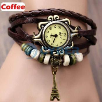 5Colors Vintage Women Vintage Iron Tower Pattern Weave Wrap Quartz Leather Wrist Watch Bracelet Wristwatch Great Gift 18655
