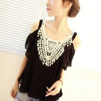 Summer Women Ladies Sexy vintage crochet lace pleated chiffon lotus leaf sleeve Off-shoulder tops Shirts [CWC00066*1]