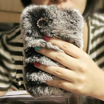 Luxury real top rex rabbit hair fur plush Soft leather shell case for iphone 5 5G 4 4s 4G bow Diamond elegant case