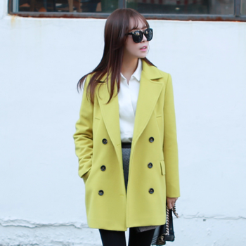 Lime Yellow Women Casual Office Chic Trendy Modern Look Long Jacket Winter Autumn Coat Outerwear 182744326 A3054