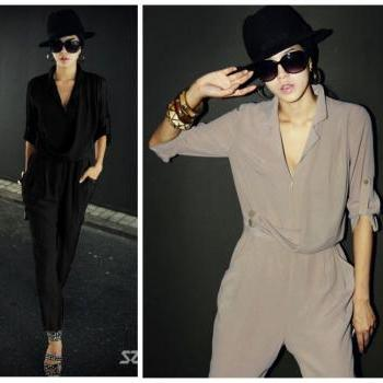 Fashion Chiffon Shirt Collar Jumpsuit Half Sleeve Solid Color Shirt + Harem Pants Loose Casual Pants Ladies Jumpsuits