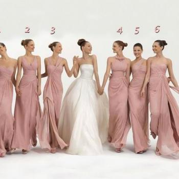 Coral Chiffon Bridesmaid Dresses Cheap Long Floor Length Mixed styles free shipping