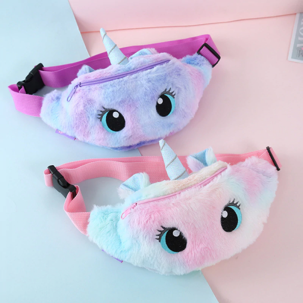 Cute Unicorn Children's Fanny Pack Girls Waist Bag Plush Toys Belt Gradient Color Chest Bag Cartoon Coin Purse Travel Chest Bag 4000931535159