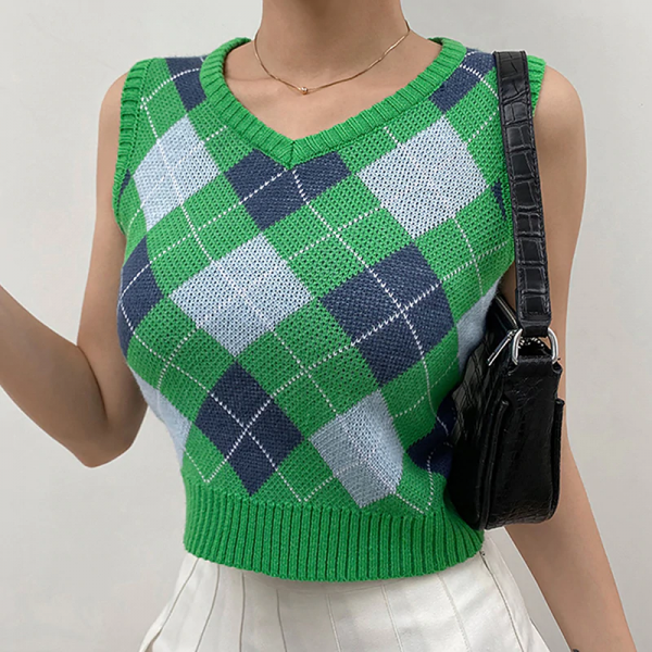 V Neck Vintage Argyle Sweater Vest Women Black Sleeveless Plaid Knitted Crop Sweaters Casual Autumn Preppy Style Green 1005001316107122