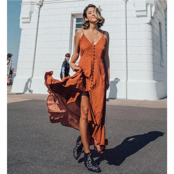 Bohemian maxi summer dress women sexy print long dress vintage polka dot ruffle boho dress orange color 4000603009359