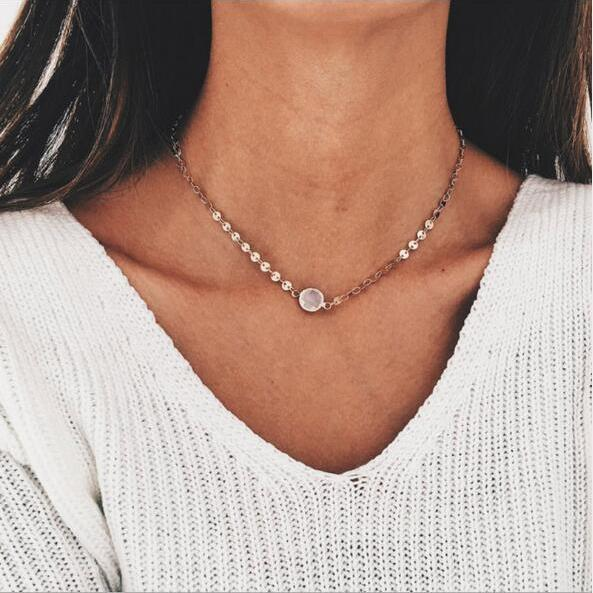 High Quality Clavicle Chain Jewelry Gold Silver Color Round Choker Necklaces for Women Daily Collares 1005001928648907