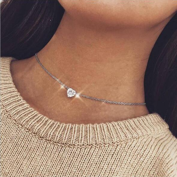 High Quality Clavicle Chain Jewelry Gold Silver Color Heart Choker Necklaces for Women Daily Collares 1005001928648907