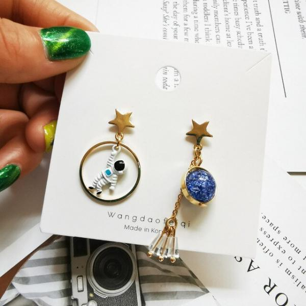 Cute Design Planet Star Universe Astronaut Tassel Drop Earrings For Women Girls Creative Hollow Circle Crystal Pendant Jewelry 4000233430919