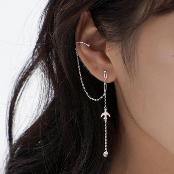 Simple Bird Star Rhinestone Long Chain Earrings For Women Shine Sun Crescent Geometric Tassel Piercing Earring Party Jewelry 1005001518383564