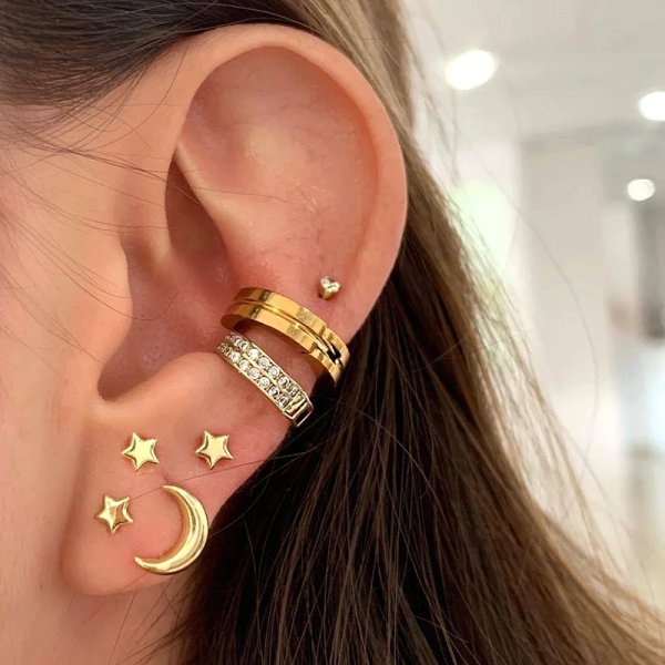 7Pcs/set Star Moon Crystal Ear Cuff Earrings Personality Punk Jewelry Clip On Earrings Without Piercing Cartilage Clip Ear Rings 4000837954696