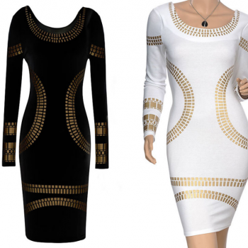 long sleeve knee-length print dress plus size women pencil dress new in 2014 fashion casual dress