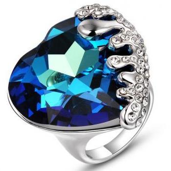 Crystal Exaggerated Ring Heart Of The Sea Design Jewelry White Gold Plated Life & Hope Jewellery