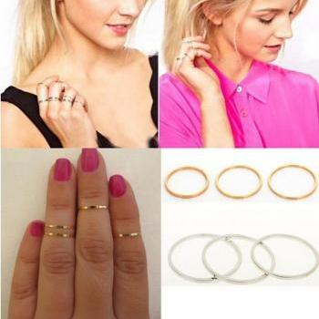 ± FREE SHIP ± 5PCS/Set Hot Sell Punk Urban Gold stack Plain Above Knuckle Ring Band Midi Mid Finger Ring Women Jewelry