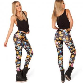 ± FREE SHIP ± Pirate Punk Leggings Galaxy Pants Digital Printing ADVENTURE TIME Attack Of The Unicorn Leggings For Wome