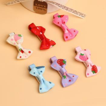 *Free Shipping* 12PC Baby Toddler Girls Hair Clips Ribbon Bow Kids Strawberry Satin Bowknot Hairpin 6 Colors