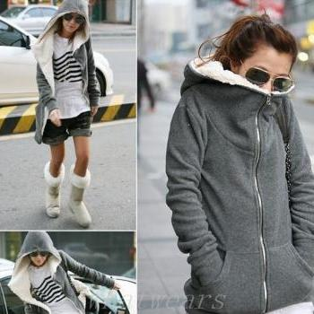 *Free Shipping* Warm Womens Thicken Jacket Coat Hoodies Outwear Black Grey M~XL [3.5 70-1067]