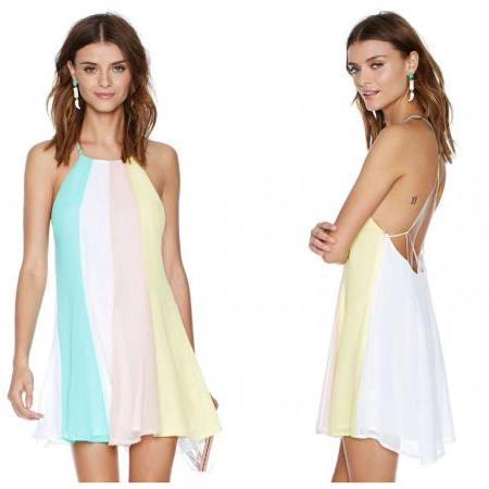 *Free Shipping* Plus Size XXL New Summer Dress 2014 Women Casual Dress Candy Color Striped Halter Neck Mini Dresses Adjustable shoulder straps