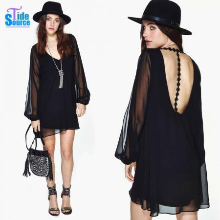 Big Size Vestidos Casual Free Shipping Summer Dress 2014 Sheer Long Sleeve Crochet Women Dress Black Loose Dresses Woman Clothes